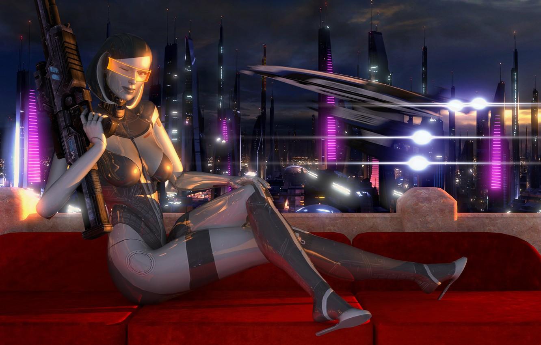 Фото обои взгляд, робот, mass effect, edi, Dr. Eva