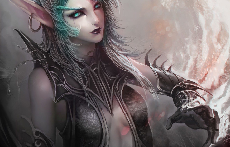 Фото обои девушка, арт, World of Warcraft, эльфийка, серьга