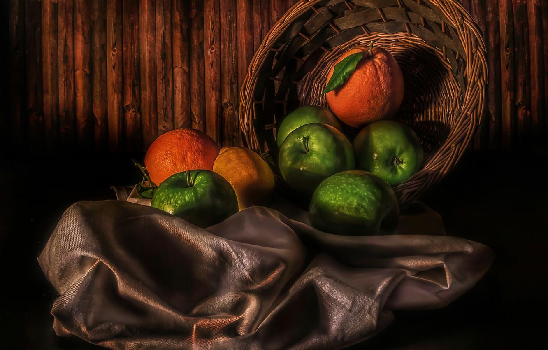 Фото обои лимон, яблоки, апельсины, Fruit basket