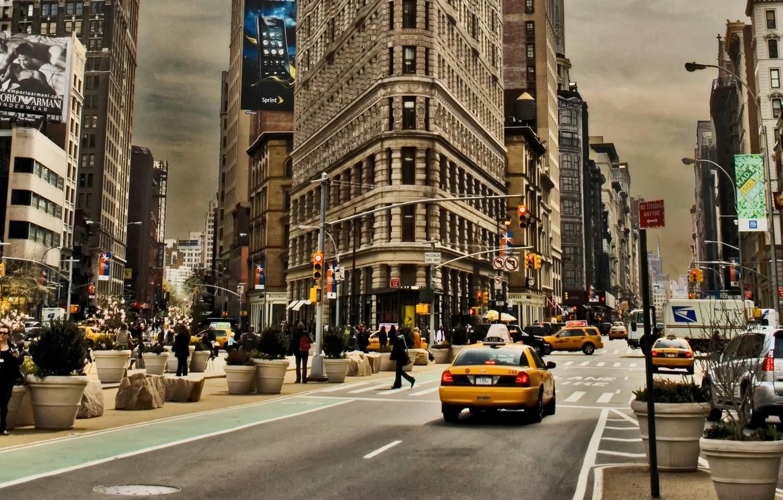 Обои Светофор, улица, такси, люди, реклама, дома. Города foto 6