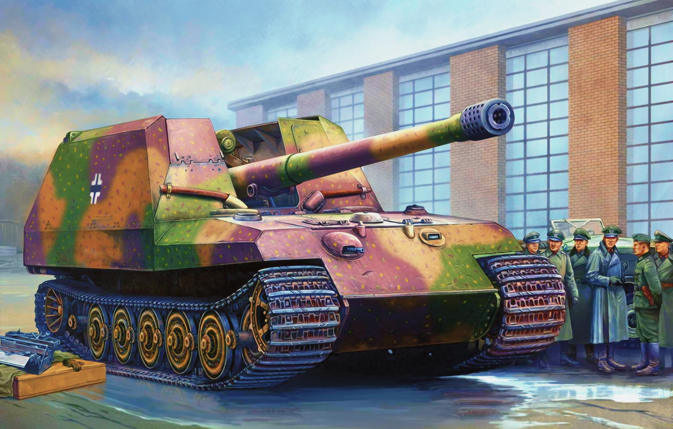 Фото обои war, art, painting, tank, ww2, GW -Tiger prototype