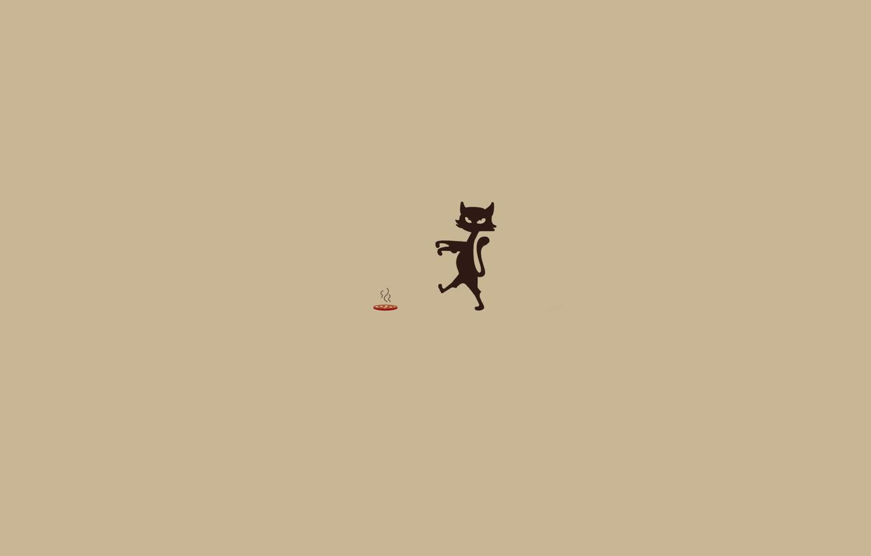Фото обои животные, движение, еда, минимализм, юмор, Кошка, зомби, центр, колбаска