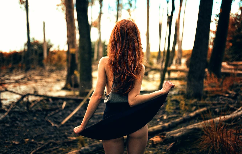 Фото обои лес, девушка, ножки, юбочка, Backside, Miro Hofmann