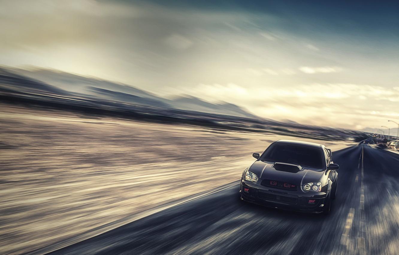 Фото обои скорость, Subaru, Impreza, размытость, чёрная, WRX, black, front, субару, импреза, STi