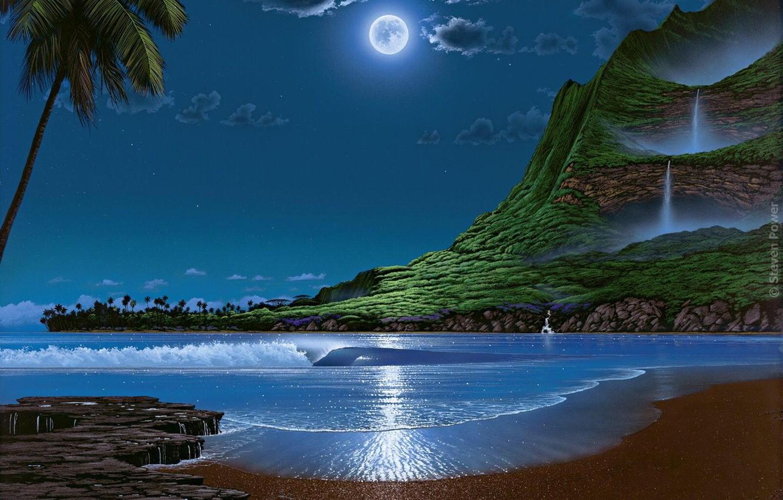 Фото обои море, небо, пастораль, лунная ночь, Stewen Power