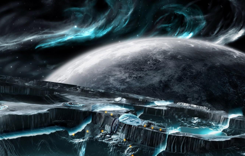 Фото обои небо, вода, космос, планета