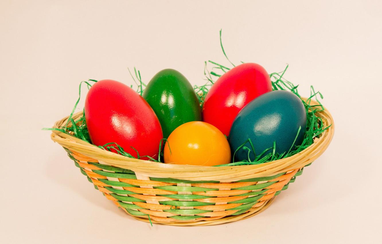 Фото обои трава, краски, яйца, весна, пасха, корзинка