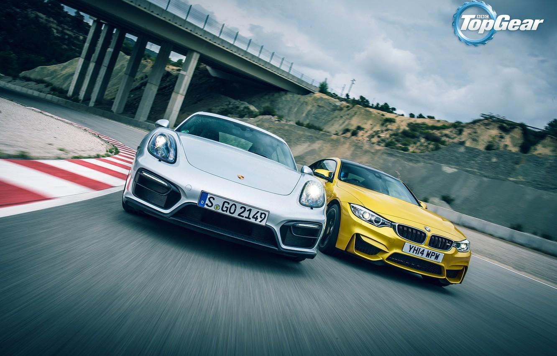 Фото обои Porsche, BMW, Cayman, Top Gear, Speed, Yellow, Supercars, GTS, Silver, Track