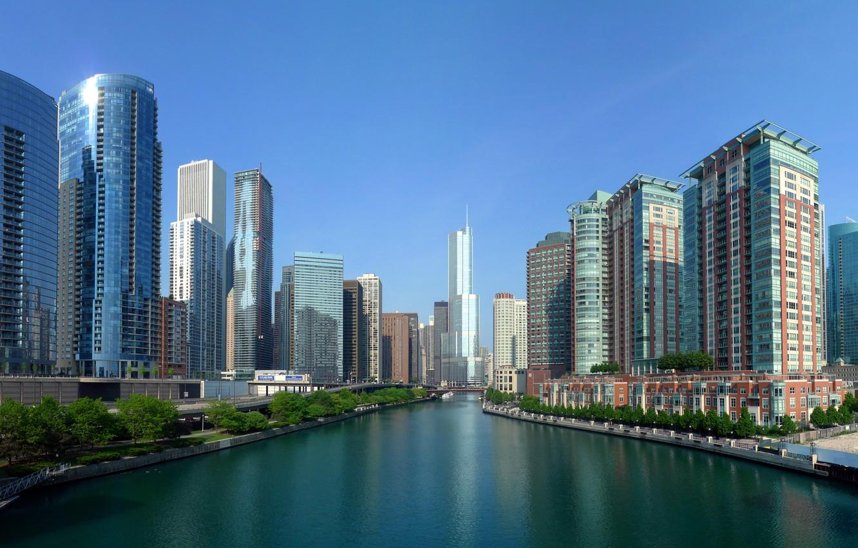 Фото обои Небо, Вода, Дома, Фото, Город, Река, Панорама, Вид, Чикаго, Небоскребы, Здания, USA, США, Chicago