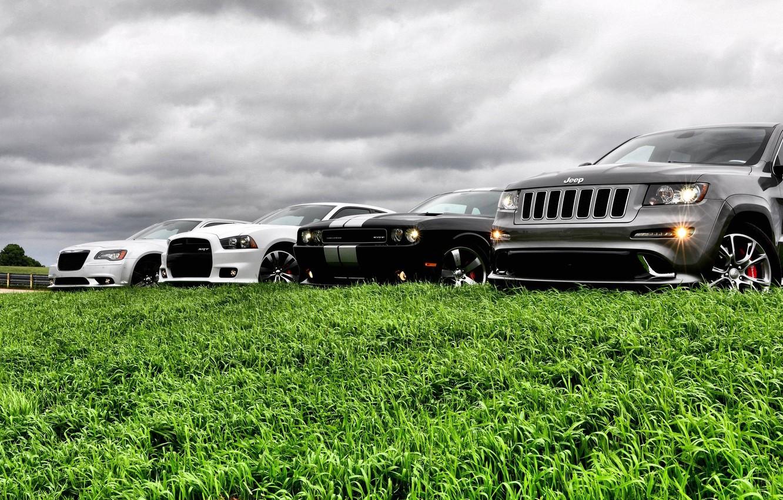 Фото обои авто, небо, трава, крастоа, jeep grand cherokee, dodge challenger str8, chrysler 300 srt8, dodge avenger …