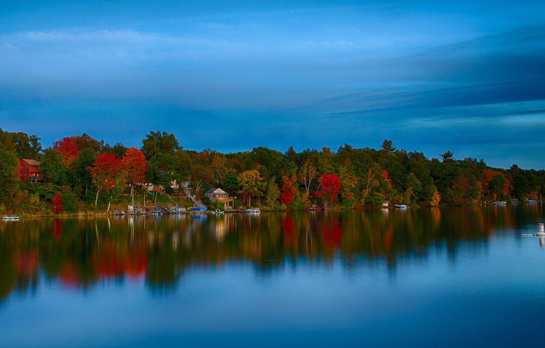 Фото обои осень, лес, небо, деревья, озеро, дом