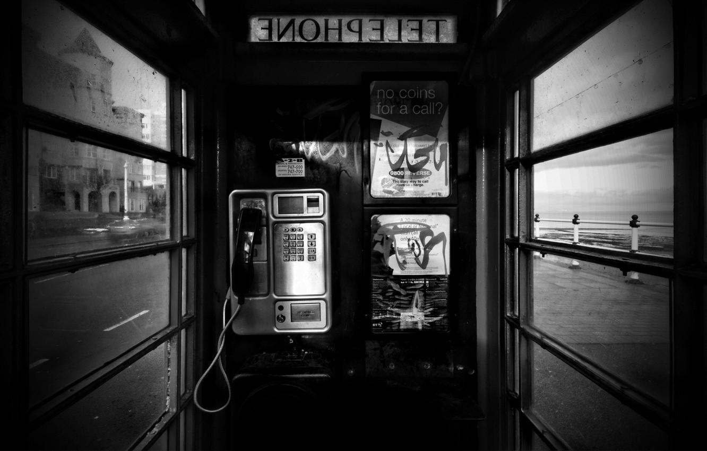 Фото обои черно-белая, телефон, 157, будка