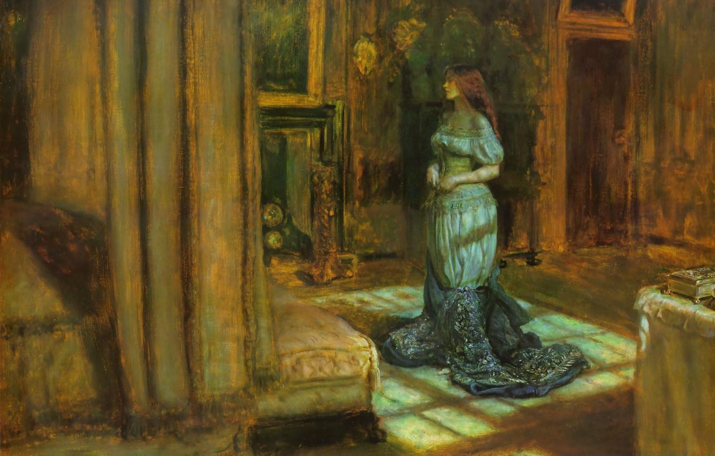 Фото обои девушка, темнота, комната, кровать, юбка, картина, вечер, дверь, шкатулка, корсет, рыжая, камин, балдахин, John Everett …
