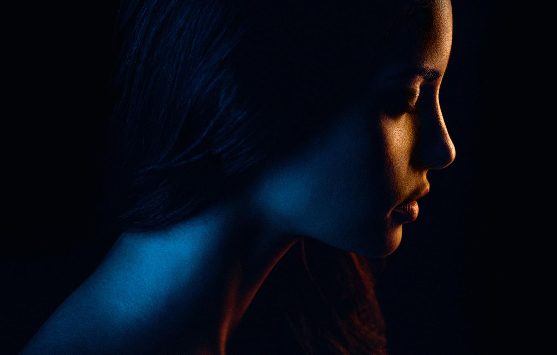 Фото обои девушка, портрет, освещение, силуэт, профиль, color, flash