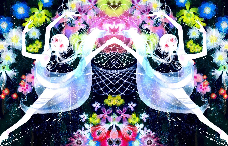 Фото обои девушка, цветы, абстракция, аниме, арт, vocaloid, hatsune miku, альбинос, yoshida yoshitsugi