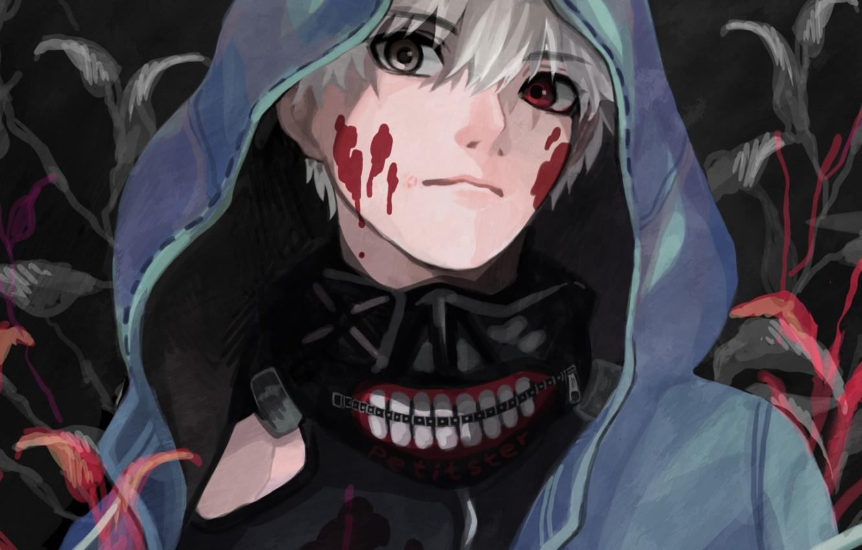 Фото обои кровь, маска, капюшон, парень, anime, art, токийский гуль, Tokyo Ghoul, Ken Kaneki