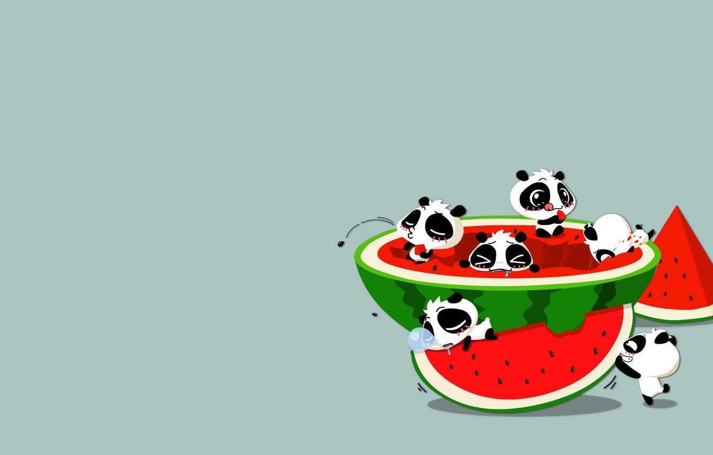 Фото обои ситуация, аниме, арбуз, арт, панда