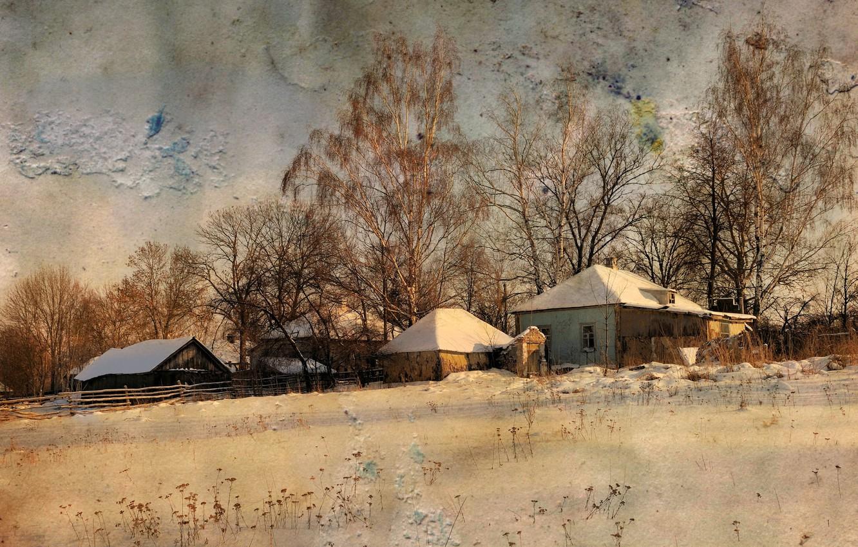 Фото обои зима, стиль, фон, дома