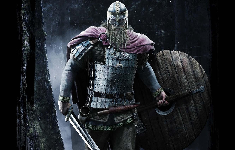 Фото обои меч, нож, шлем, кинжал, борода, топор, щит, клинок, викинг, рог, Север, панцирь, Молот Тора, обереги