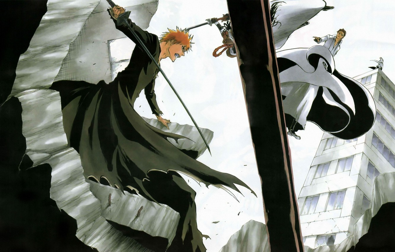 Фото обои аниме, битва, блич, ичиго, капитан айзен, тоусен, гин
