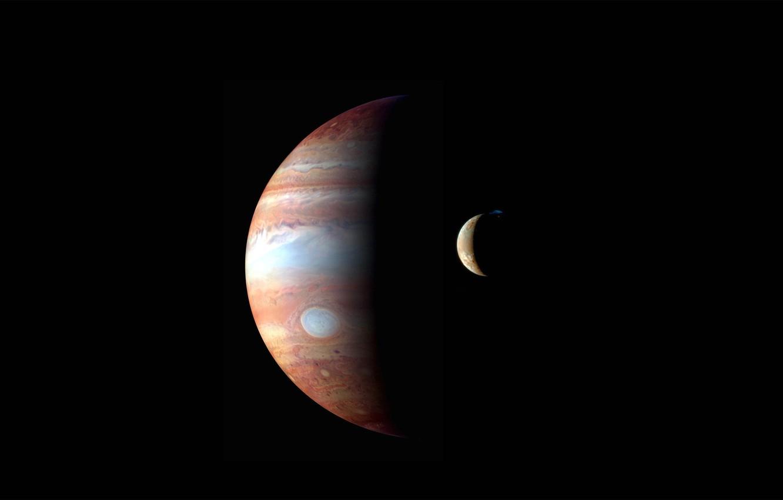 Фото обои планета, спутник, Юпитер, солнечная система