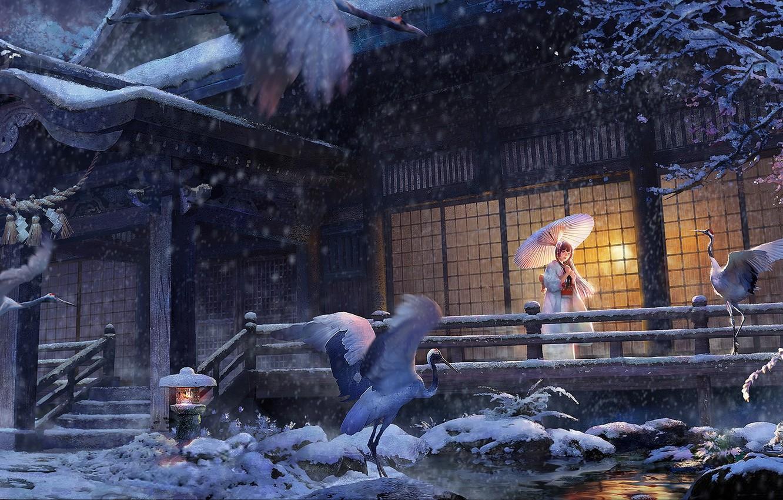 Фото обои зима, девушка, снег, дом, зонт, аниме, арт, кимоно, аисты, lost elle, tsuru no ongaeshi