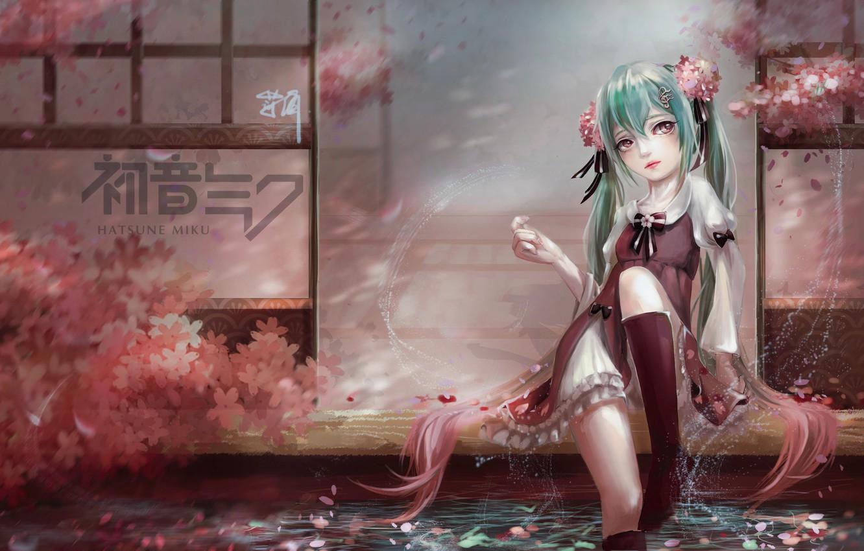 Фото обои девушка, задумчивость, брызги, дом, пруд, лепестки, сакура, арт, vocaloid, hatsune miku, сидя, bao xiao