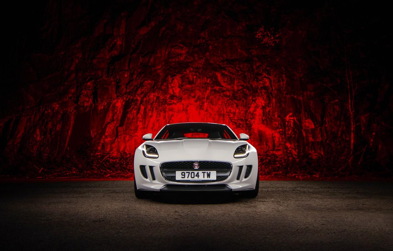 Фото обои Jaguar, Red, Car, Front, White, Sport, F-Type, Ligth