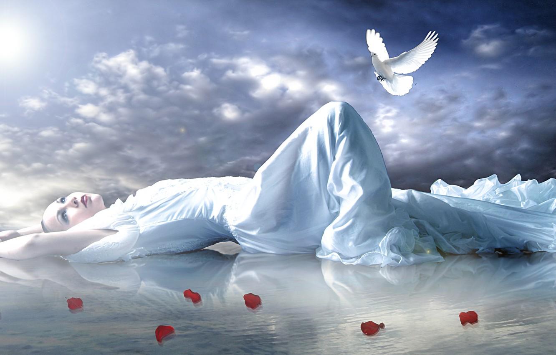 Фото обои небо, взгляд, вода, девушка, поза, отражение, голубь, руки, макияж, лепестки, лежит, красные губы, роз