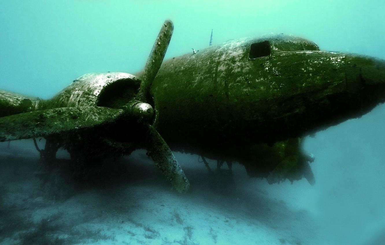 Фото обои обломки, авиация, крушение, самолёт, под водой