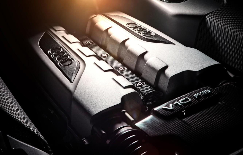 Фото обои Audi, двигатель, ауди, FSI, silvery, V10