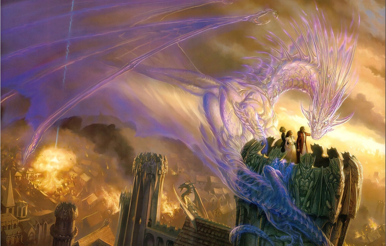 Фото обои город, люди, огонь, магия, дракон, башня, дух