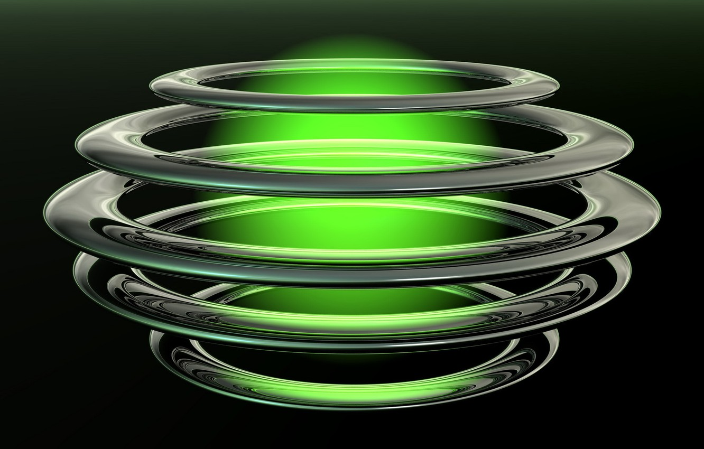 Фото обои круги, шар, свечение, черный фон, зеленое