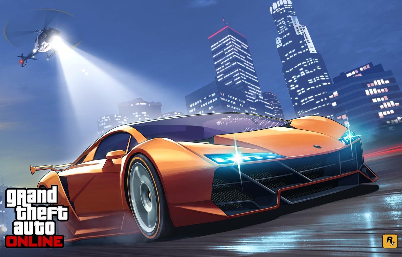 Фото обои дорога, машина, полиция, погоня, арт, вертолет, лос анджелес, Grand Theft Auto V, gta online