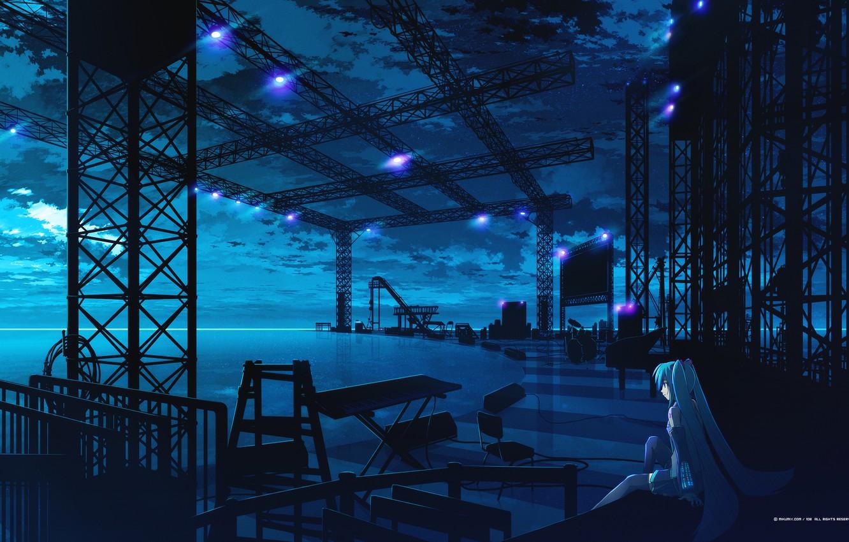 Фото обои синий, сцена, девочка, vocaloid