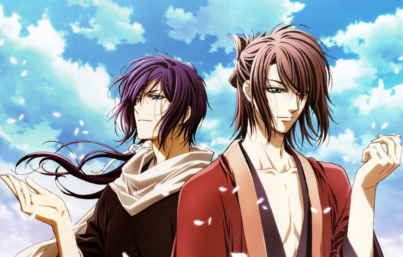 Фото обои небо, облака, ветер, лепестки, сакура, парни, самураи, Hakuouki, Okita Souji, Saitou Hajime, демоны бледной сакуры, …