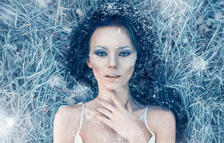 Фото обои иней, девушка, мороз, Alessandro Di Cicco, Iced Heart