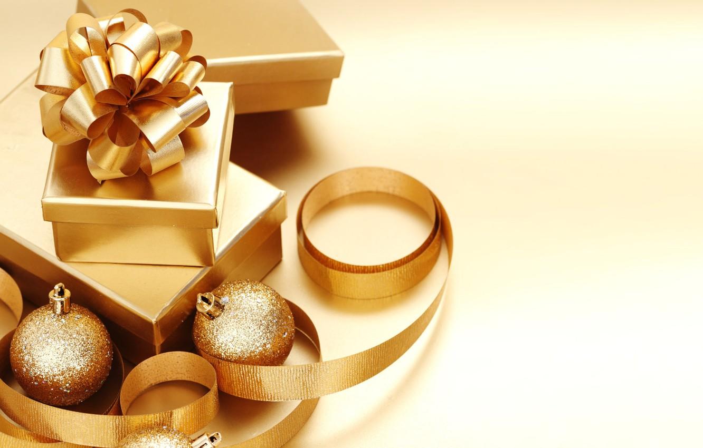 Фото обои фон, золото, подарок, шары, обои, игрушки, новый год, лента, подарки, new year, бантик, золотые, ленточка, …