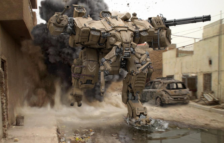 Фото обои будущее, война, улица, дым, робот, лужи, развалены