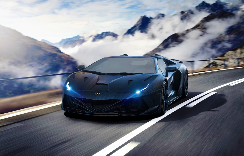 Фото обои Lamborghini, Speed, Front, Tuning, Aventador, Road, Supercar, Fog, Hyper