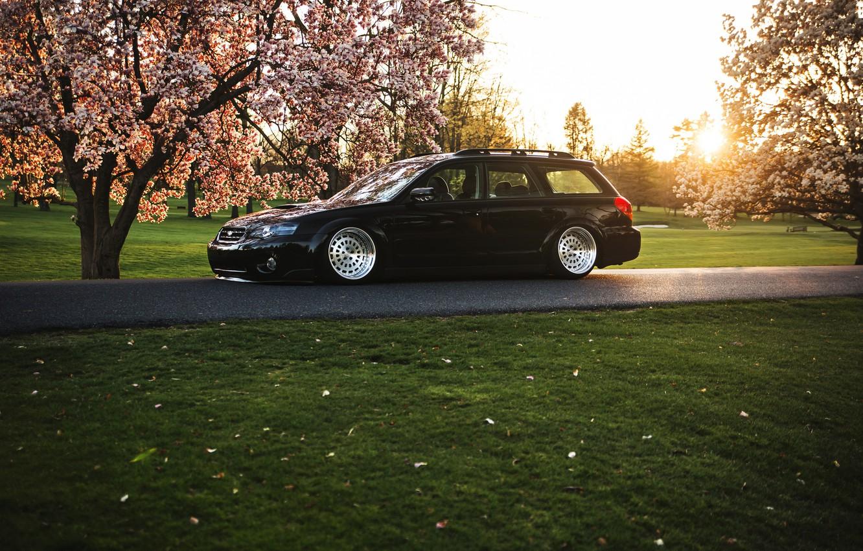 Фото обои Subaru, black, субару, stance, Outback
