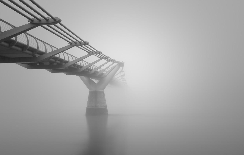 Фото обои мост, Туман, архитектура