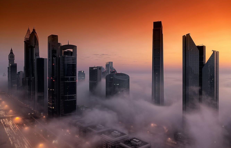 Обои высотки, оаэ, дубай, макушки, Город, туман. Города foto 12