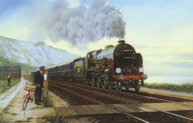 Фото обои пейзаж, горы, люди, дым, паровоз, картина, вагон, холст, полустанок