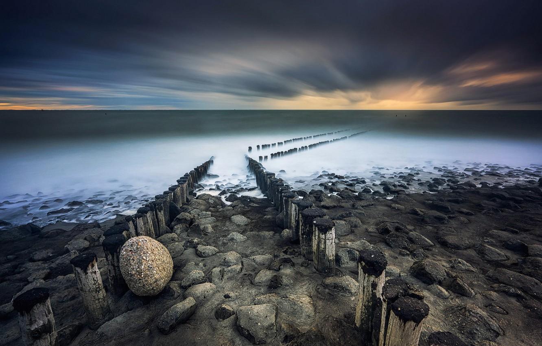 Фото обои море, небо, берег