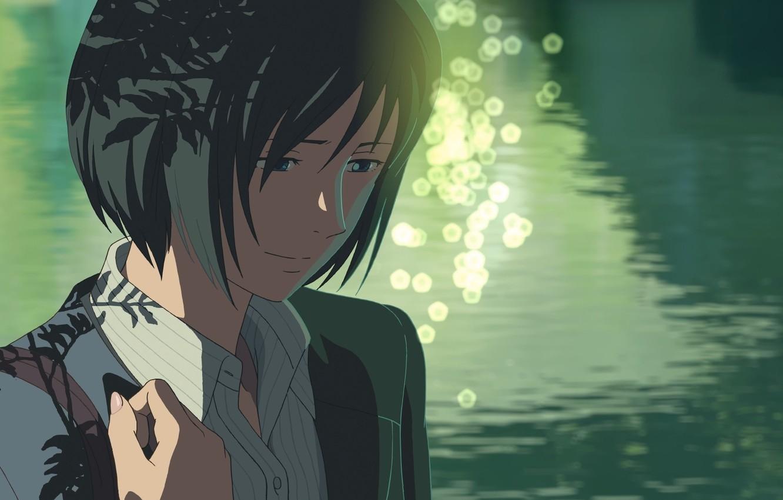 Фото обои Девушка, Взгляд, Озеро, Girl, Аниме, Макото Синкай, Anime, The Garden Of Words, Makoto Shinkai, Котоноха …