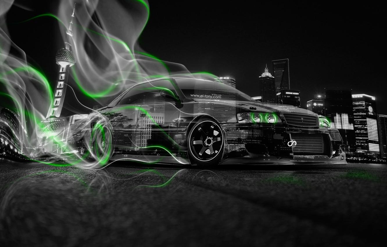 Фото обои Авто, Ночь, Город, Дым, Неон, Зеленый, Машина, City, Дрифт, Toyota, Drift, Car, Art, Фотошоп, Green, ...