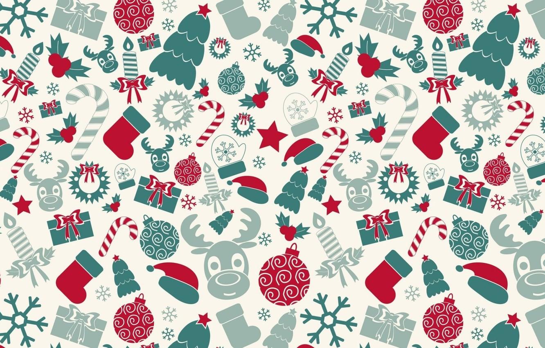 Фото обои фон, праздник, подарок, шар, свеча, текстура, олень, Новый год, ёлка, конфета, снежинка