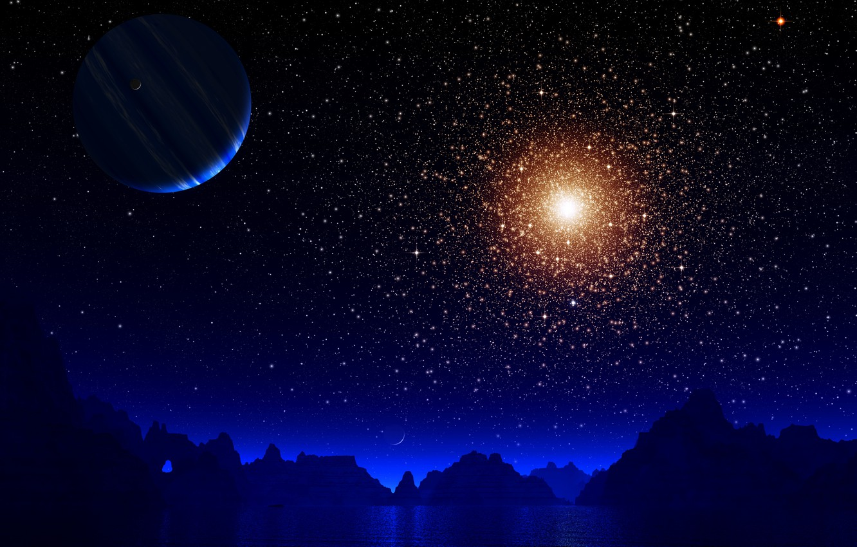 Фото обои космос, горы, планета, звёзды, art