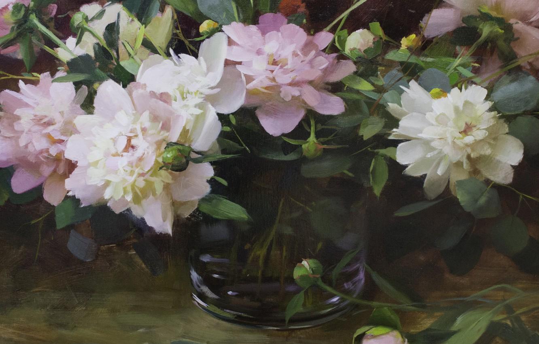 Фото обои цветы, розовое, натюрморт, пионы, Hagop Keledjian
